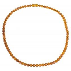 Collier d'ambre adulte couleur cognac perle extra ronde