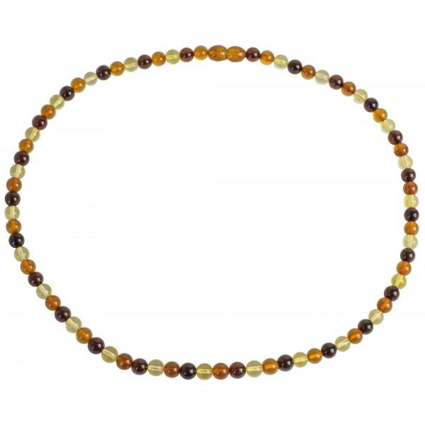 Collier d'ambre multicouleurs perle extra ronde