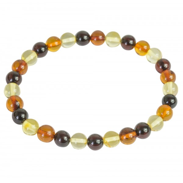 Perfectly round baltic amber bracelet- multi