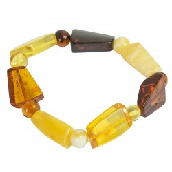 Multicolored amber bracelet with 2 sizes of stones
