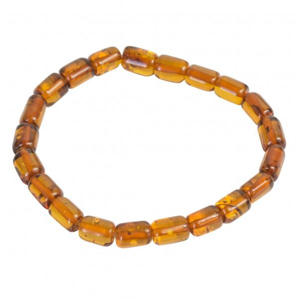 Bracelet en ambre miel, perle forme cylindrique