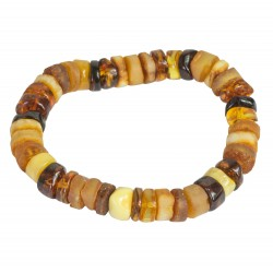 Multicolored amber bracelet - polished and rough round stones