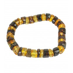 Multicolored amber bracelet - round polished stones