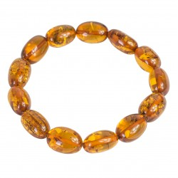 Adult amber bracelet, honey-colored oval pearl