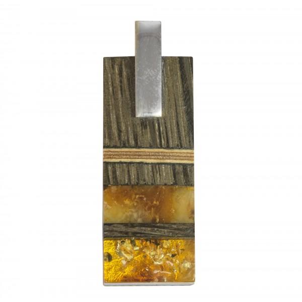 Pendentif Ambre jaune & royal, Argent & Bois précieux