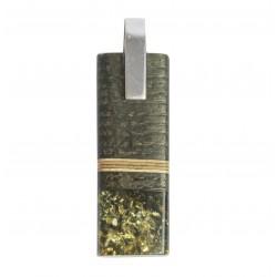 Anhänger Edelholz, gelb, grün und silber 925/1000