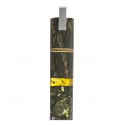Long pendentif bois précieux, ambre miel et vert avec armature en argent