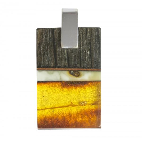 Large pendentif en bois précieux avec ambre miel et royal