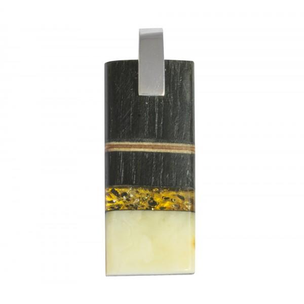 Pendentif bois précieux, ambre royal & vert avec argent massif