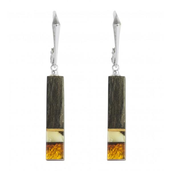 Boucles d'oreilles bois précieux, argent massif et ambre miel et royal