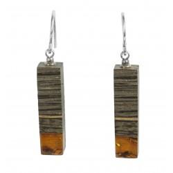 Longues Boucles d'oreilles bois précieux et ambre cognac