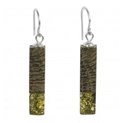 Long green amber and precious wood earrings