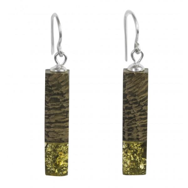 Longues Boucles d'oreilles ambre vert et bois précieux