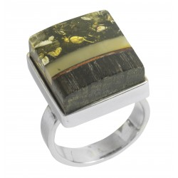 Precious wood ring, green and royal amber on sterling silver mount