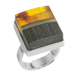 Wooden amber ring