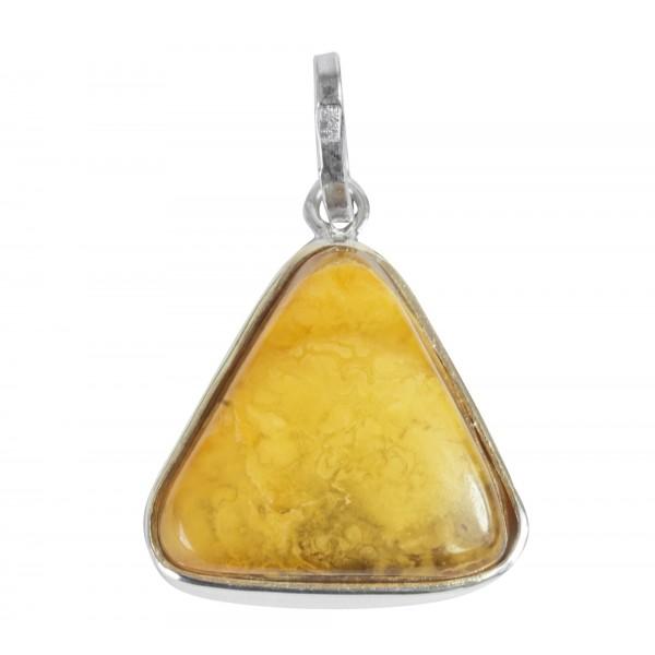 Pendentif ambre miel nuage et argent 925/1000