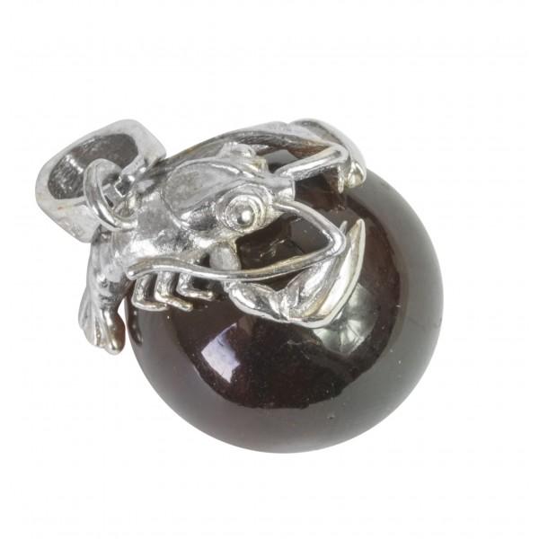 Pendentif perle d'ambre cerise et homard argent 925/1000