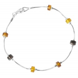 Multi-color amber bracelet and silver 925/1000