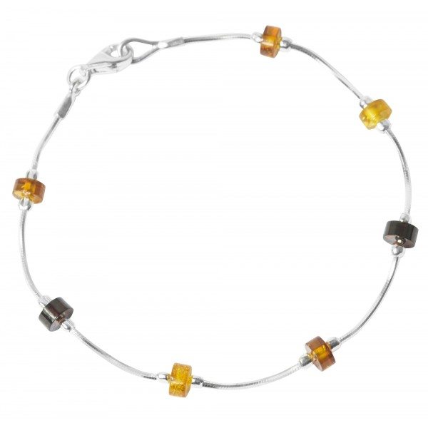 Bracelet amber multicolor and silver 925/1000