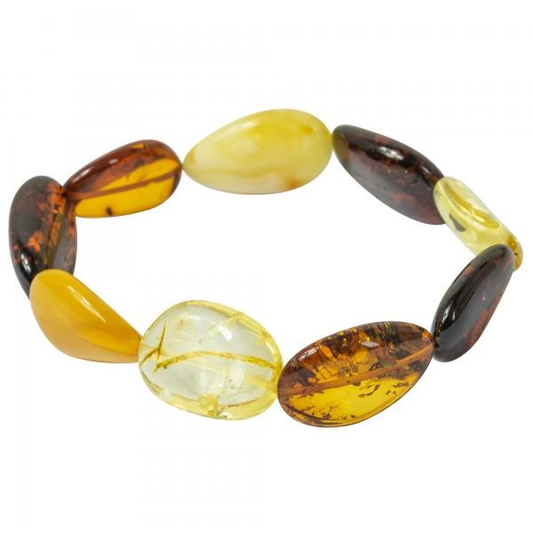 Bracelet d'ambre multi-couleur forme olive