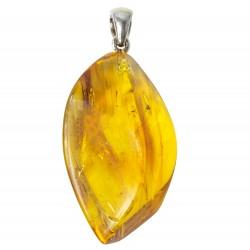 Pendentif ambre véritable avec 1 inclusion d'insecte