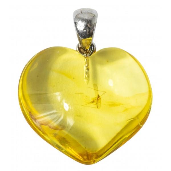 Pendentif ambre véritable avec 1 inclusions d'insecte