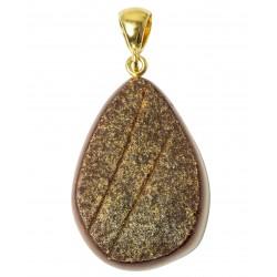 Pendentif ambre brut semi-poli plaqué or