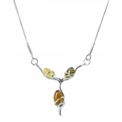 Silver pendant and trio of Amber Pearl