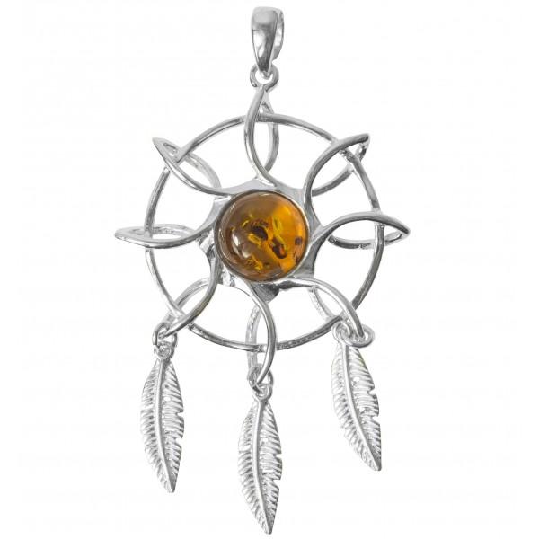 Pendentif Flamant ambre et ARGENT 925/1000