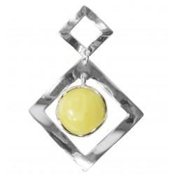 Pendentif ambre blanc et argent 925/1000