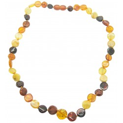 Collier d'ambre naturel multicolore