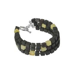 Bracelet 3 tours en ambre véritable couleur cerise et jaune