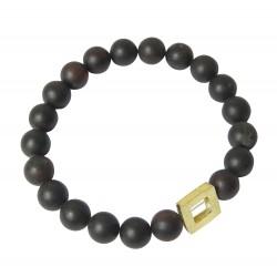 Bracelet d'ambre Cerise brut & pièce carrée plaqué Or