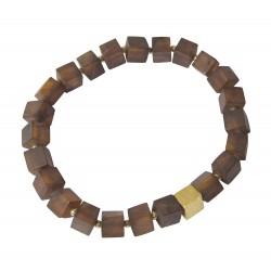 Bracelet Unisexe en Ambre Cogna avec cube plaqué Or