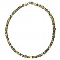 琥珀五彩珍珠项链圆柱形