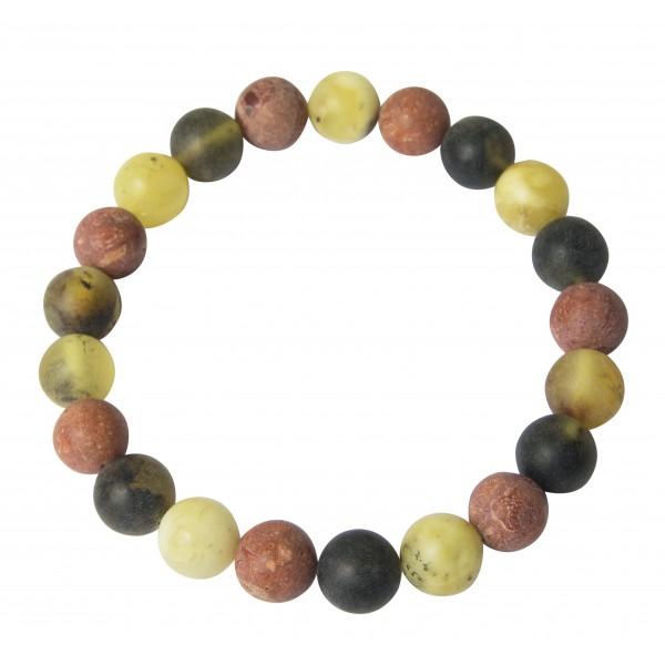 Bracelet d'Ambre brut de couleur vert & blanc accompagné de perle de Corail
