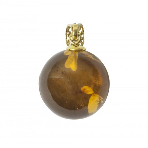 Pendentif perle d'ambre naturel couleur miel