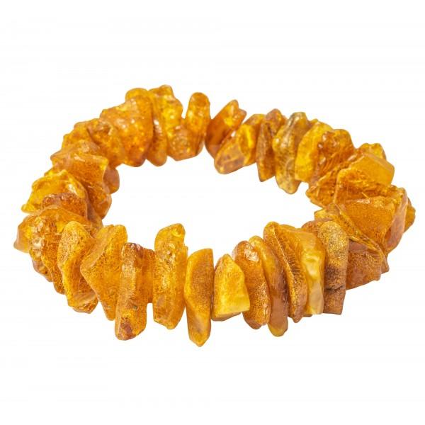 Bracelet éclat d'ambre brut de couleur miel