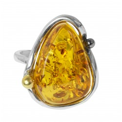 Big ring of amber cherry and silver 925/1000