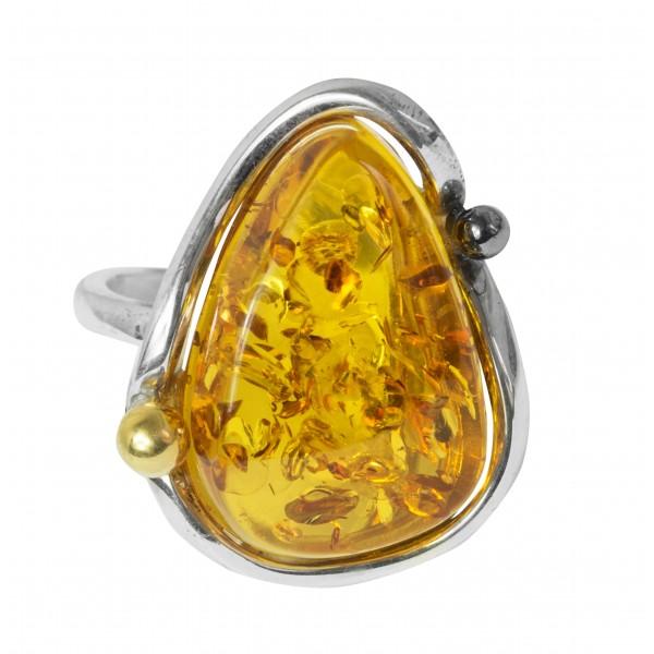 Grosse bague d'ambre jaune et argent 925/1000