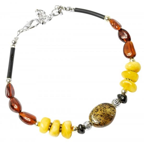 Bracelet d'ambre véritable multicolore avec chaine extensible