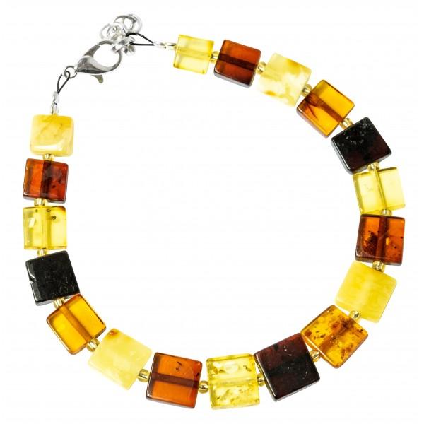 Bracelet carré d'ambre multicolore