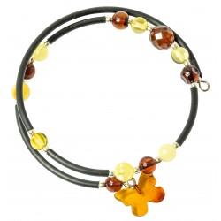 Bracelet Accordéon 2 tours en ambre multicouleur et papillon d'ambre cognac