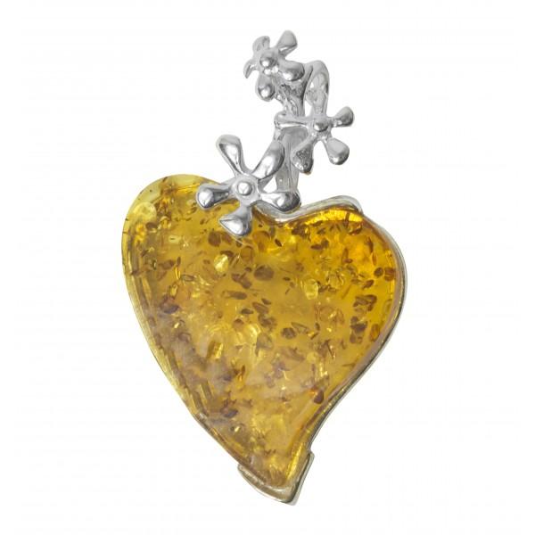 ambra cognac pendente e argento 925/1000 rettangolare