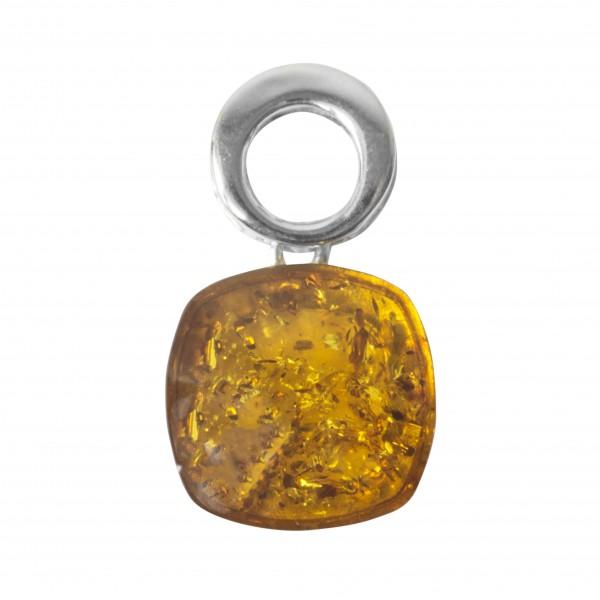 ciondolo in argento e ambra bianco naturale