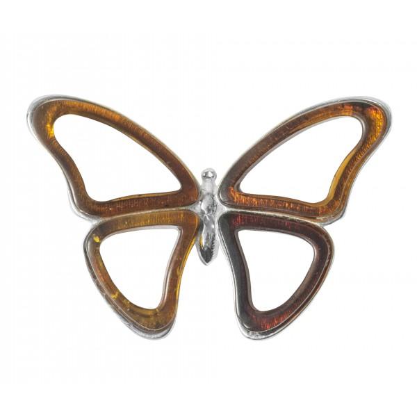 Papillon pendentif en Argent et ambre naturel couleur cognac