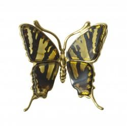 Pendentif papillon ambre jaune plaqué or