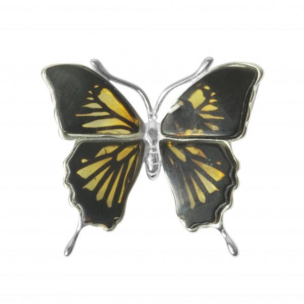 Pendentif papillon ambre et argent massif 925/1000
