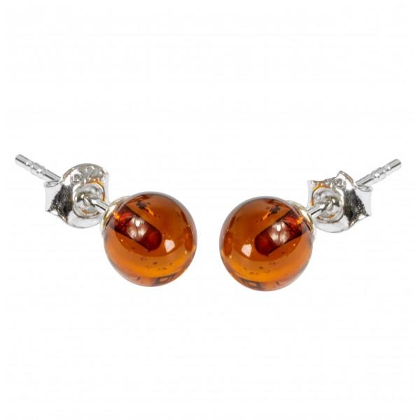 Boucle d'oreille ambre cognac forme boule