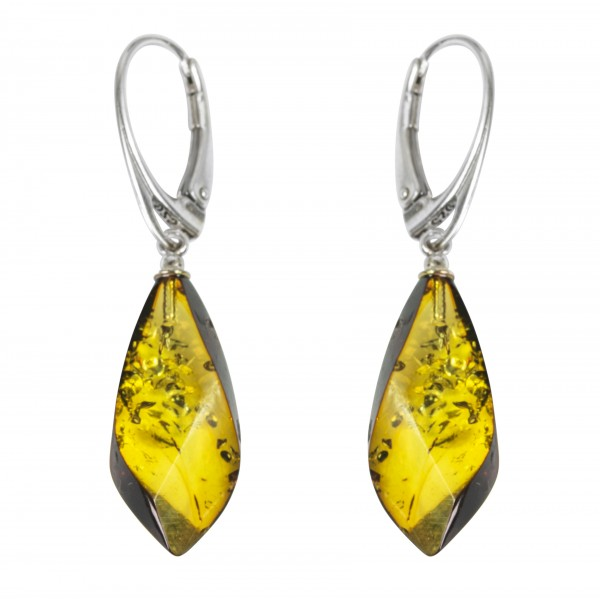 Boucle d'oreille Ambre jaune et Argent 925/1000